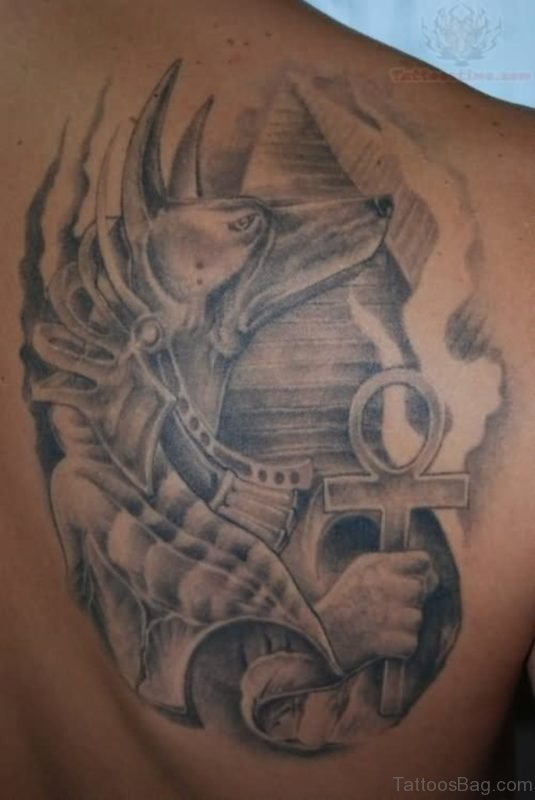 Grey Egyptian Tattoo On Back