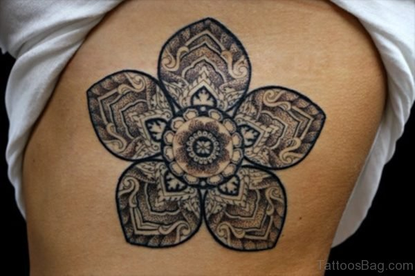 Grey Flower Mandala Tattoo