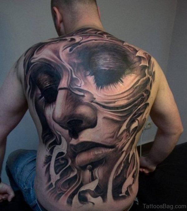 Grey Girl Face Tattoo