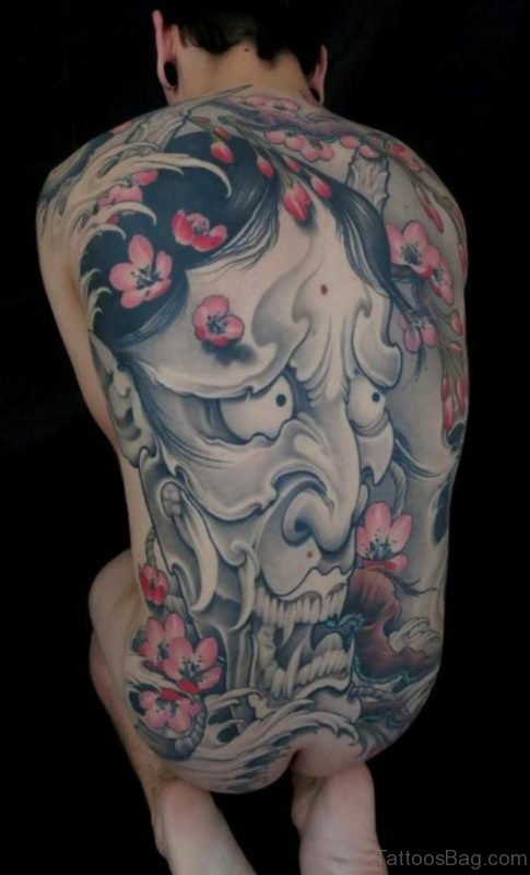 Grey Hannya Mask With Cherry Blossoms Tattoo