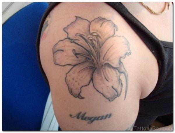 Grey Hibiscus Tattoo On Shoulder