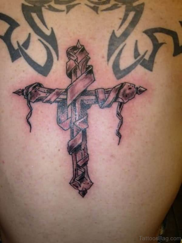 Grey Ink 3D Cross With Banner Tattoo On Back