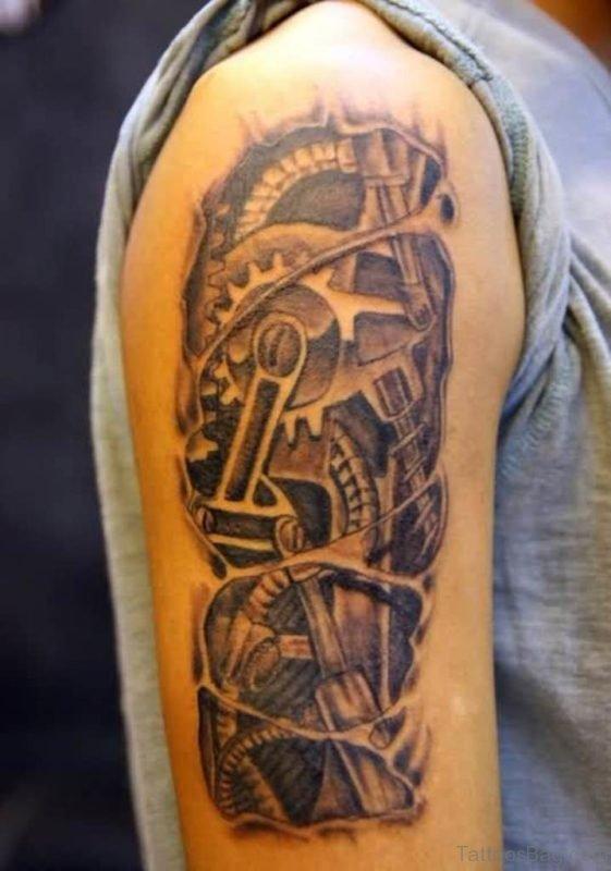 Grey Ink 3D Mechanical Gears Tattoo