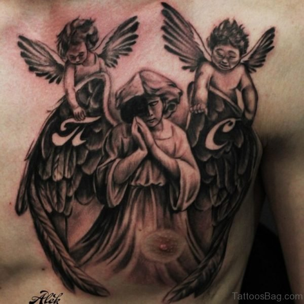 Grey Ink Angel Tattoo On Chest