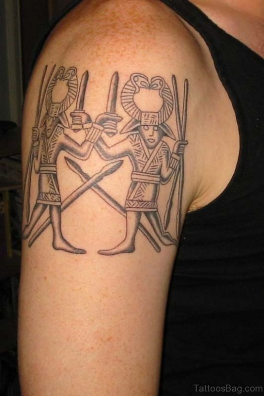 Grey Ink Aztec Tattoo
