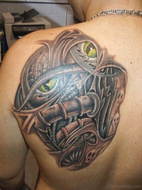 Grey Ink Biomechanical Tattoo