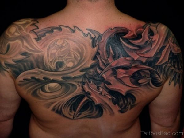 Grey Ink Biomechanical Upper Back Tattoo