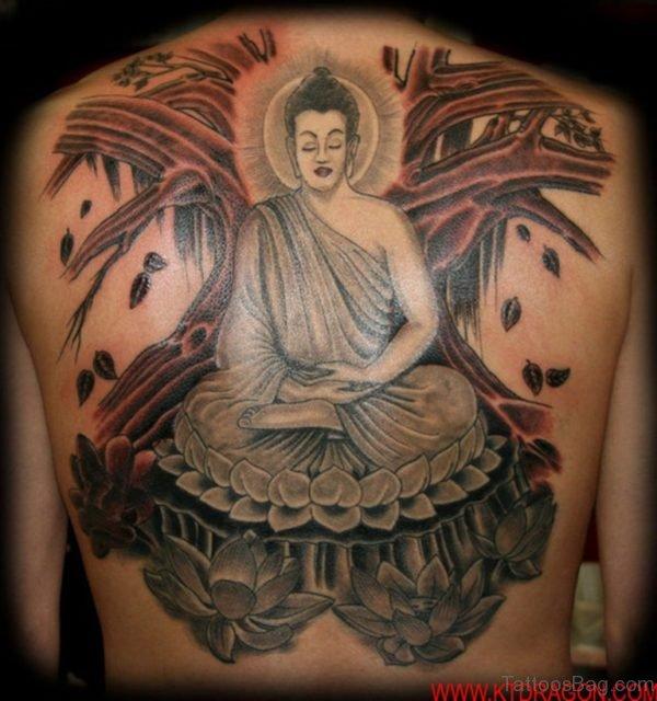 Grey Ink Buddha Lotus Tattoo On Upper Back