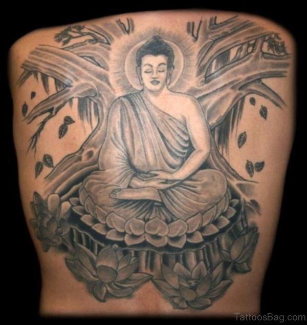 Grey Ink Buddha Tattoo On Back Body