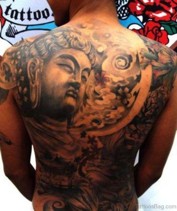 Grey Ink Buddhist Tattoo