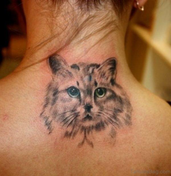 Grey Ink Cat Head Tattoo On Upper back
