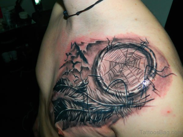 Grey Ink Dream Catcher Tattoo