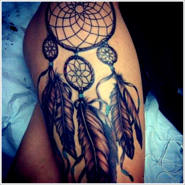 78 Graceful Dreamcatcher Tattoos On Thigh