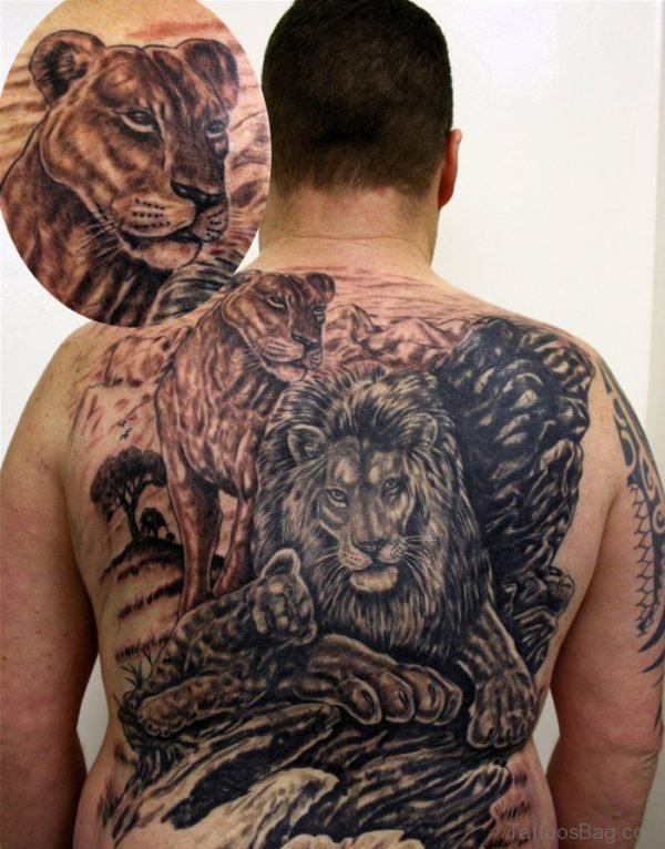 Grey Ink Egyptian Lion Tattoo