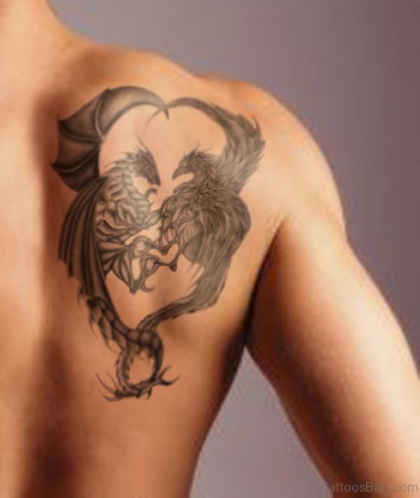 Grey Ink Egyptian Tattoo On Right Back Shoulder