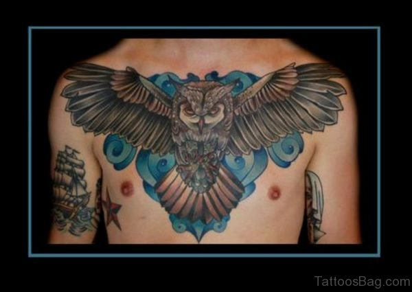 Grey Ink Flying Owl Tattoo