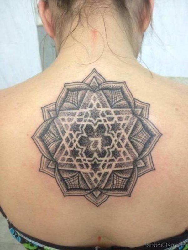 Grey Ink Geometric Tattoo On Back