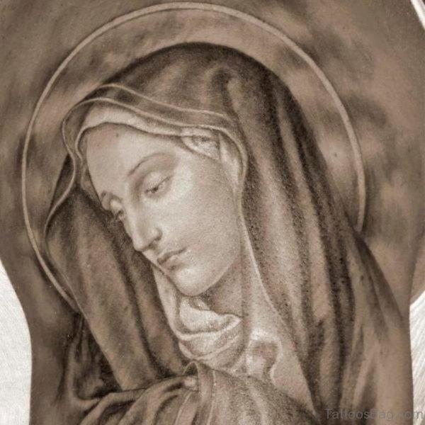 Grey Ink Mary Tattoo