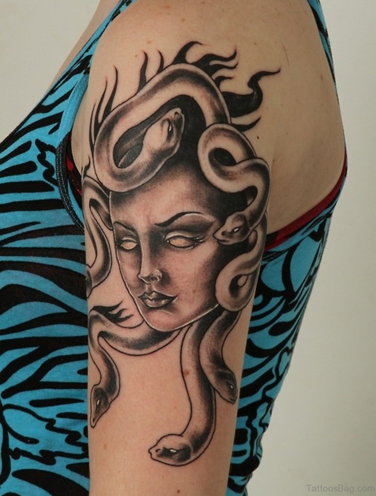 Black Medusa Tattoo: 60 Graceful Medusa Tattoos On Shoulder