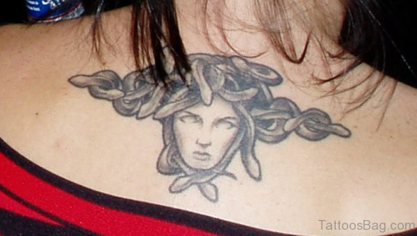 Grey Ink Medusa Tattoo