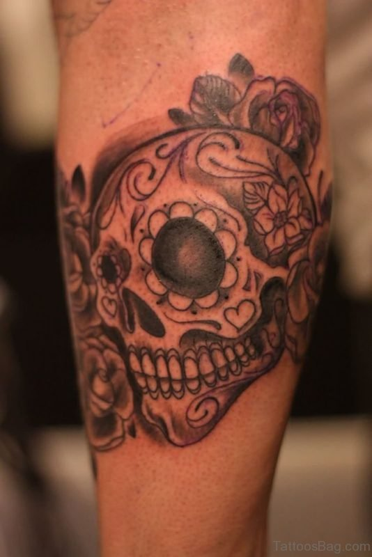 Grey Ink Mexican Skull Tattoo