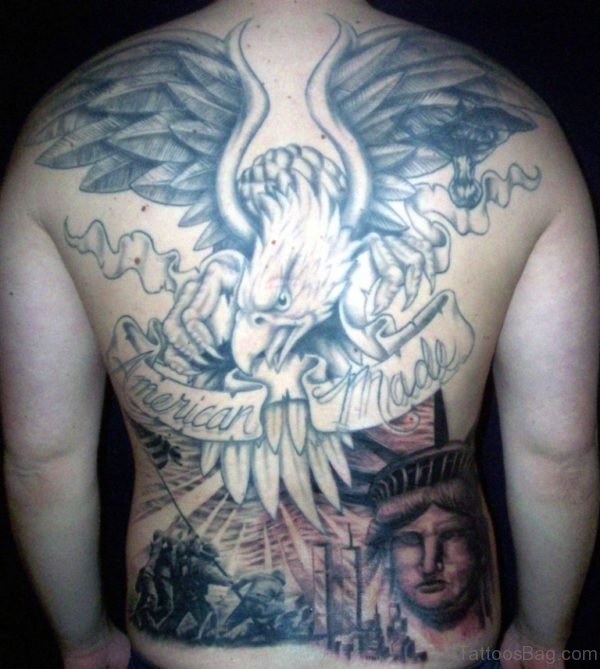 Grey Ink Patriotic Tattoo