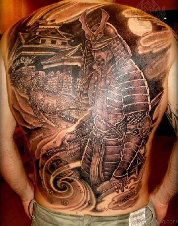 Grey Ink Samurai Warrior Tattoo