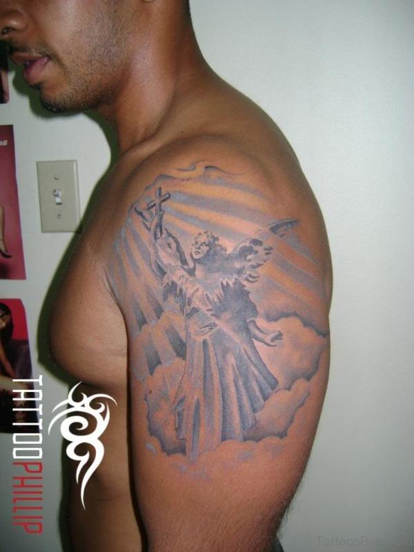 Grey Ink Shoulder Tattoo Design