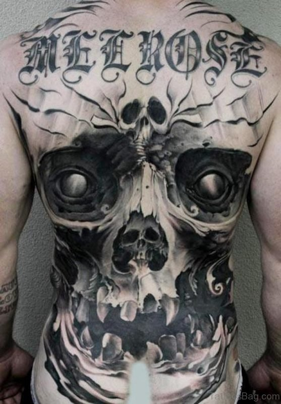 Grey Ink Skull Tattoo