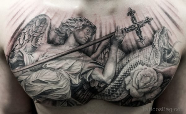 Grey Ink Snake And Angel Tattoo On Man Chest