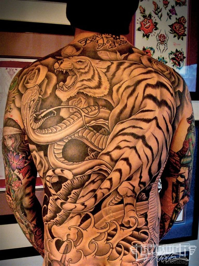 Grey Ink Tiger and Snake Tattoo On Back