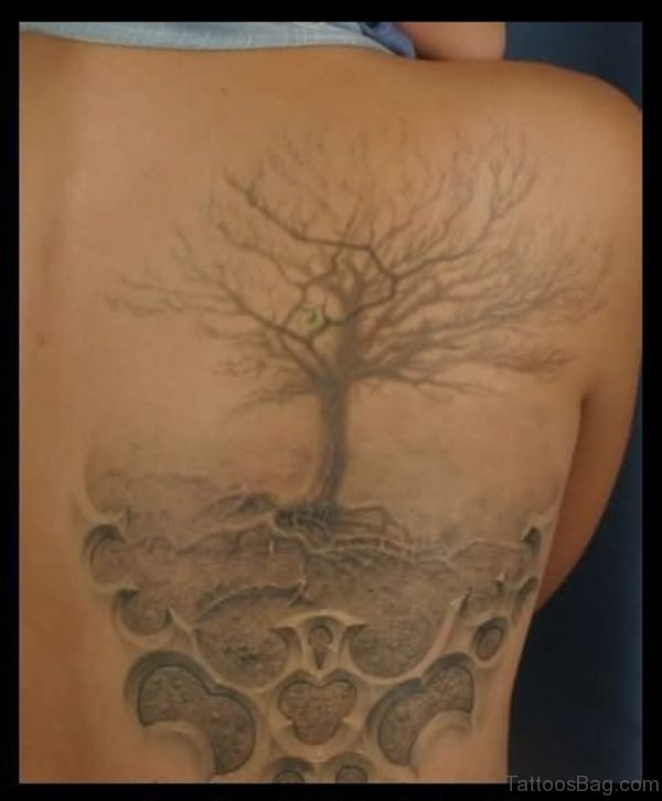 Grey Ink Tree Tattoo