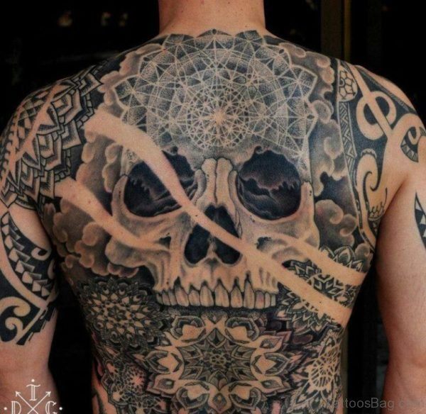 Grey Inked Skull Tattoo