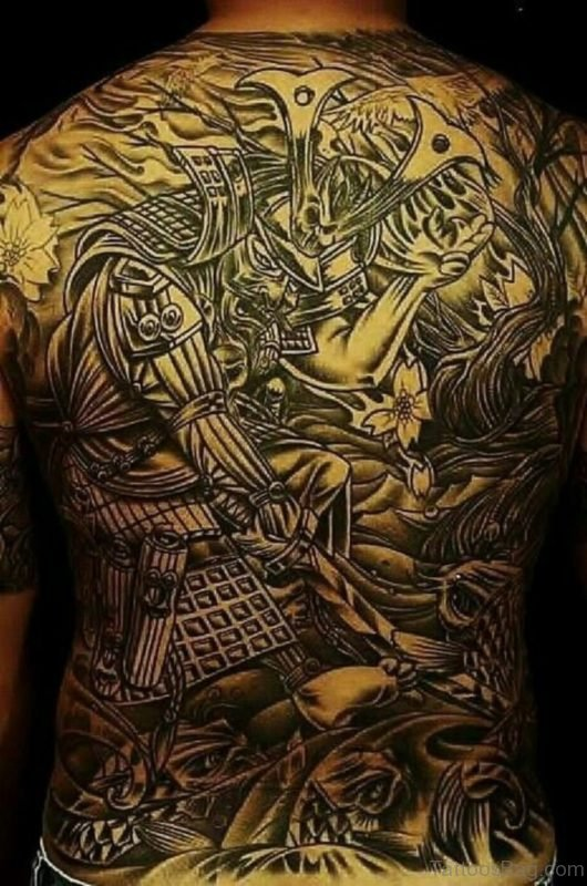 Grey Japanese Samurai Tattoo