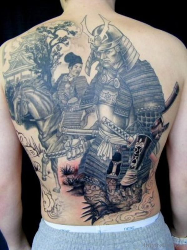 Grey Japanese Samurai Tattoo On Full Back