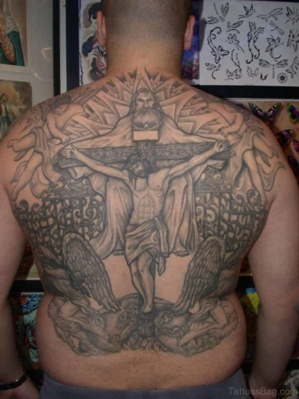 Grey Jesus Tattoo On Back