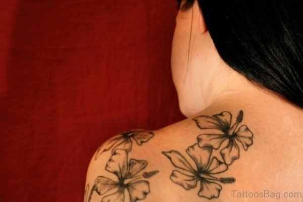 Grey Lily Tattoo On Back Shoulder