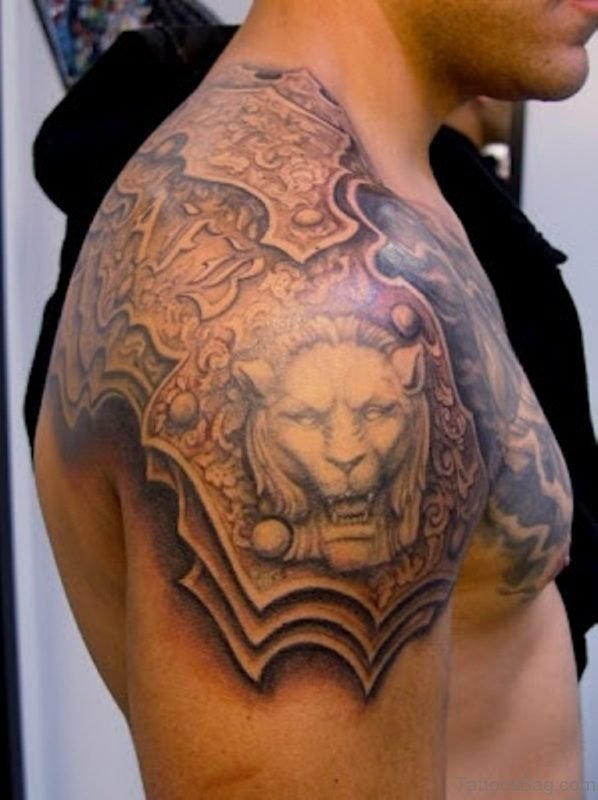 Grey Lion Face Tattoo