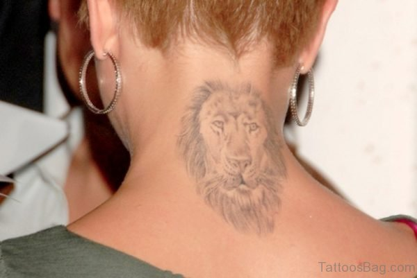 Grey Lion Tattoo On Neck