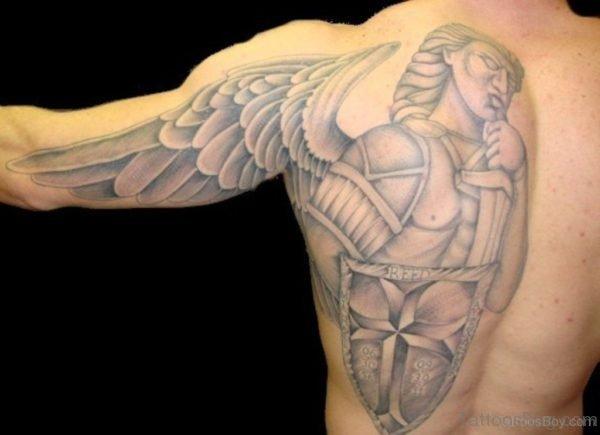 Grey Memorial Angel Tattoo