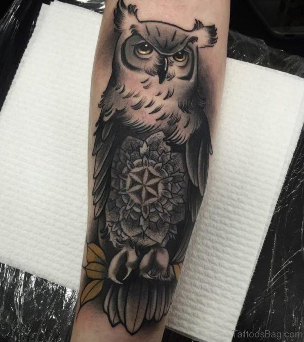 Grey Owl Tattoo On Wrist