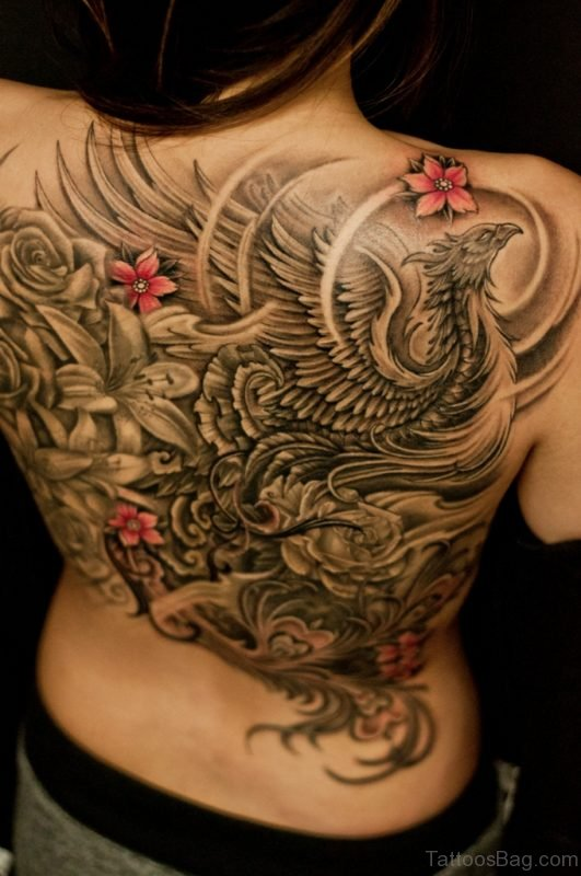 Grey Phoenix And Flower Tattoo