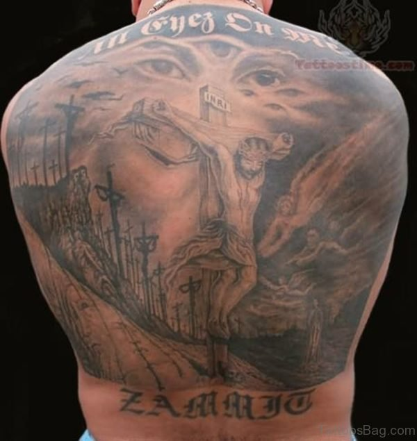 Grey Religious Tattoo On Back