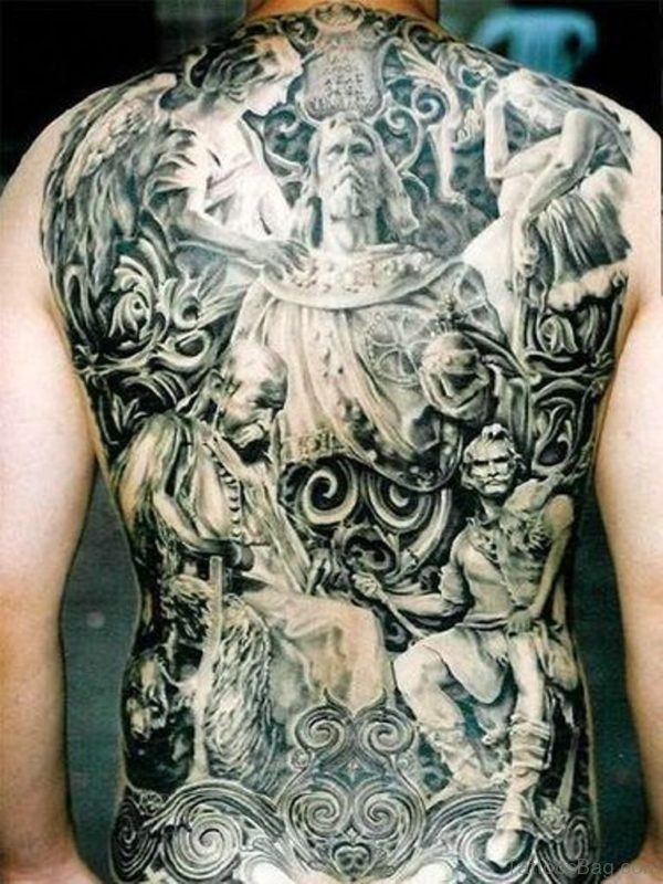Grey Religious Tattoo On Full Back
