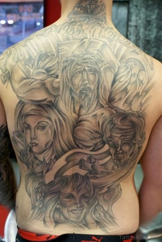 Grey Religious Tattoo