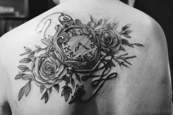 Grey Rose And Clock Tattoo