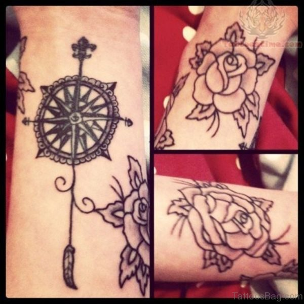 Grey Rose And Compass Tattoo