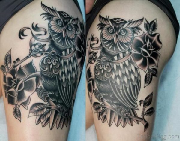 Grey Rose And Owl Tattoo