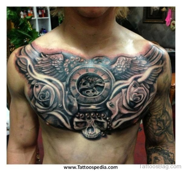 Grey Rose Flowers And Wings Angel Chest Tattoo