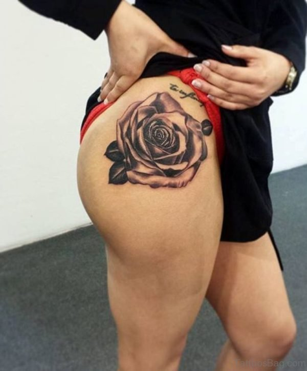 Grey Rose Tattoo For Thigh
